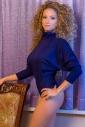 Thermal Bodysuit Turtle Neck Long Sleeve Thong Style 15-77 dark blue