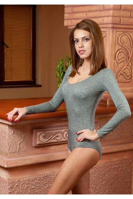 Wool Bodysuit Round Neck Long Sleeve Bikini style 1980