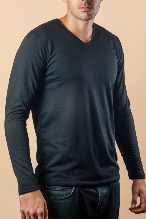 Thermo T-shirt Long sleeve V-neck Carded cotton 15-135