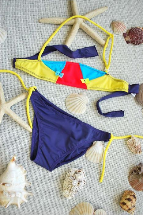 Kids Bikini Swimsuit bando bottoms with ties 1113