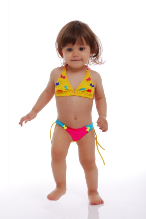 Kids Bikini Swimsuit soft triangle bottoms with ties 1114