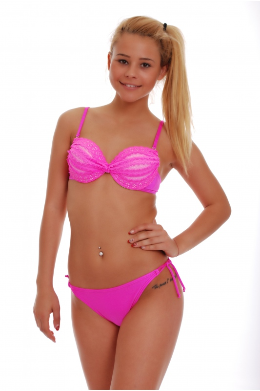 Bikini set Push up with lace & thin tie side 1155