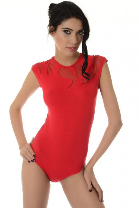 Ladies sleeveless bodysuit decoration of delicate tull thong 1443