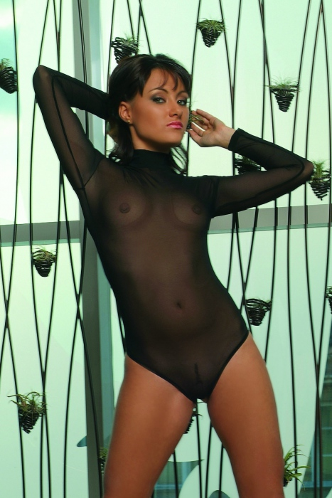 Women's Bodysuit turtle neck see through thong style 337