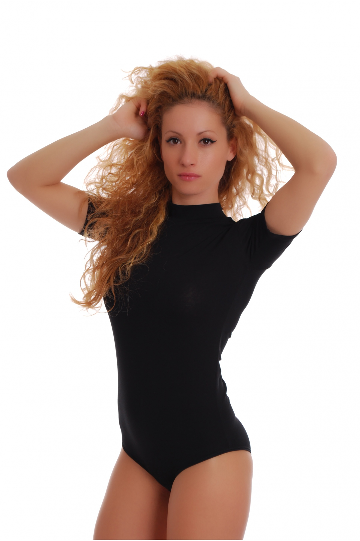Short Sleeve Scoop Neck Cotton Bodysuit Model is wearing size SMALL. Measurements are 32B x 24 x 34 and height is 5' 9