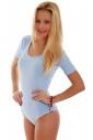 Cotton Bodysuit Round Neck Short Sleeve Bikini Style 1445