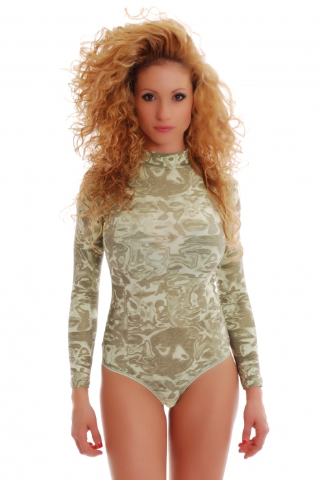 Cotton women's Bodysuit Turtle Neck Long Sleeve on SALE 1397