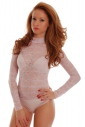 Womens Bodysuit Long sleeve Turtle neck see through Thong style Lace 897-4