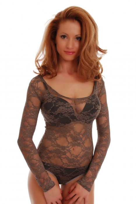 Lace Ladies Bodysuit Round Neck Long Sleeve Bikini style 904