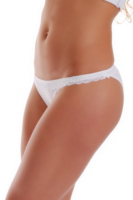 Excised Cotton Tanga Panties with Lace 1235