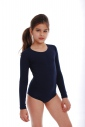 Child Long Sleeve Round Neck Bodysuit Girl Leotard 1496