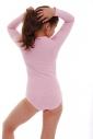 Child Long Sleeve Round Neck Bodysuit Girl Leotard 1496