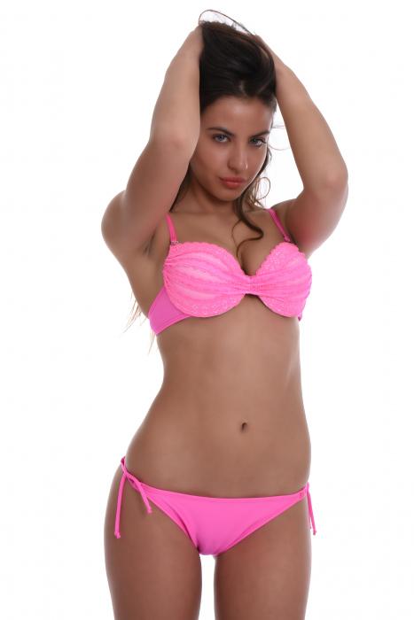 Bikini set Push up with lace & thin tie side 1155