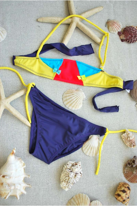 Kids Bikini Swimsuit bando bottoms with ties 1113