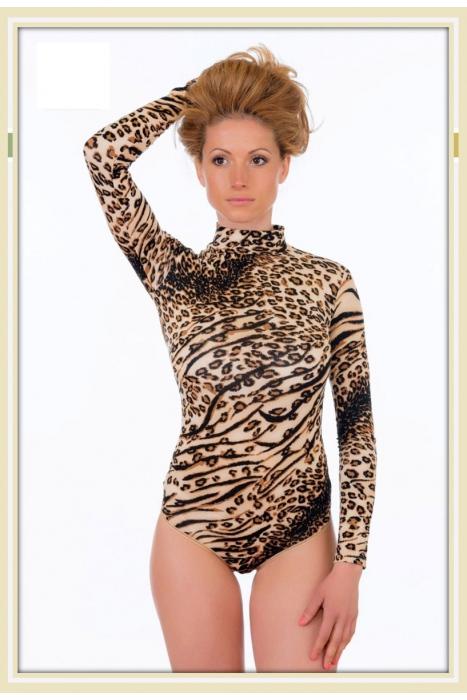Leopard σώματος Ημι-Polo με μακριά μανίκια Sling 1637
