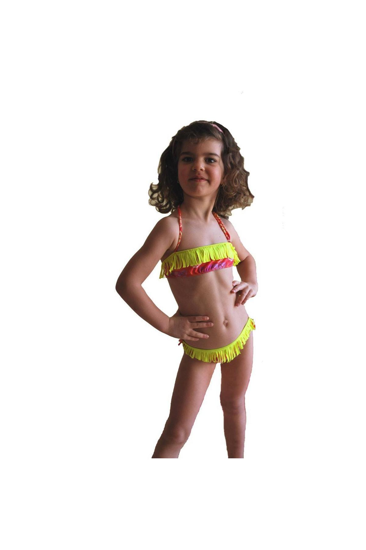 8bc005e1f3 Kids Bikini Swimsuit bando macrame bottoms with ties 1115