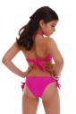Junior Bikini Swimsuit bando macrame bottoms ribbons tie side 1116