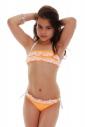Kids Bikini Swimsuit bando ruffles bottoms with ties 1115