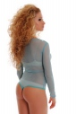Ladies Tulle Bodysuit with long sleeves neck  thong style 370