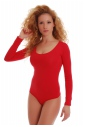 Cotton Bodysuit Round Neck Long Sleeve Thong Style 1370