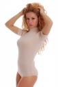 Cotton Bodysuit Turtle Neck Short Sleeve Bikini Style 1435