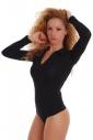 Women's Bodysuit Collar Open Neck Long Sleeve Thong Style 1769