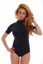 Cotton Bodysuit Turtle Neck Short Sleeve Thong Style 1430