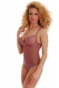 Tulle Ladies Bodysuit with lace soft cup - built bra thong SALE 605