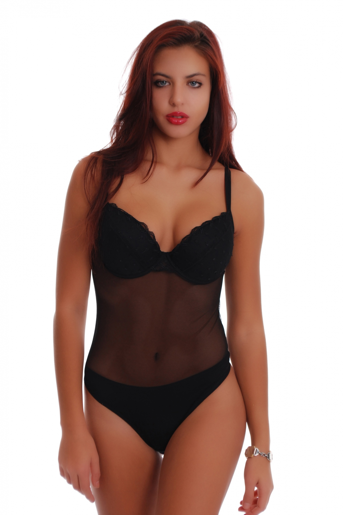 accc8b0b102a1 Ladies Bodysuit lace hard cup built bra thong style 603. Tap to expand