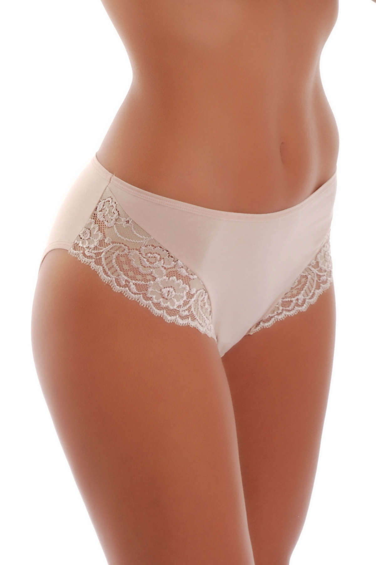 Deep Cotton Classic Briefs Panties Wide Belt With Lace 025