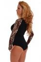 Tiger Bodysuit Long Sleeve Thong 1457