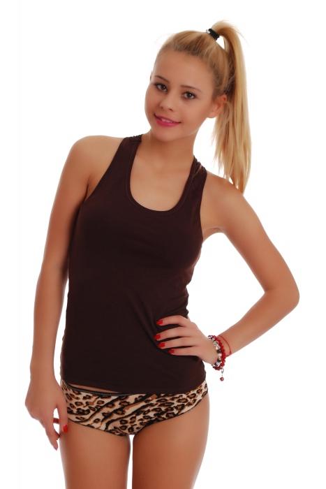 Γυναικείο σετ Tank Top Open Back & Boyshorts Καρφίτσες Leopard 1308-1065