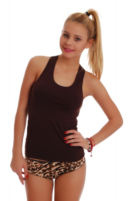 Women's Set Tank Top Open Back & Boyshorts Panties Leopard 1308-1065