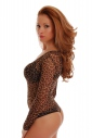 Sexy Tulle Womens Bodysuit Long Sleeve Round Neck Thong 344