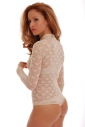 Lace Ladies Bodysuit Turtle neck Long Sleeve Thong style 900