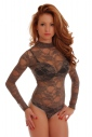Lace Ladies Bodysuit Turtle neck Long Sleeve Thong style 902