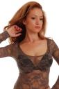 Lace Ladies Bodysuit Round Neck Long Sleeve Thong style 903