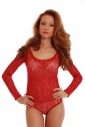 Lace Ladies Bodysuit Round Neck Long Sleeve Thong style 906