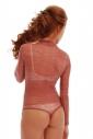 Lace Ladies Bodysuit Turtle neck Long Sleeve Thong style 910