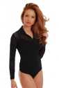 Cotton Womens Bodysuit Collar Open Neck Long Sleeve Thong 1470