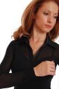 Cotton Womens Bodysuit Collar Open Neck Long Sleeve Thong 1470