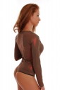 Womens Bodysuit Round Neck Long Sleeve Thong 1475