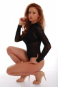 Sexy Womens Bodysuit Turtle neck Long Sleeve Thong 1480