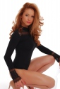 Cotton Womens Bodysuit Turtle neck Long Sleeve Thong 1474