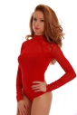 Cotton Womens Bodysuit Turtle neck Long Sleeve Thong 1473