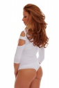Cotton women's extravagant Bodysuit 7/8 sleeves thong 1441