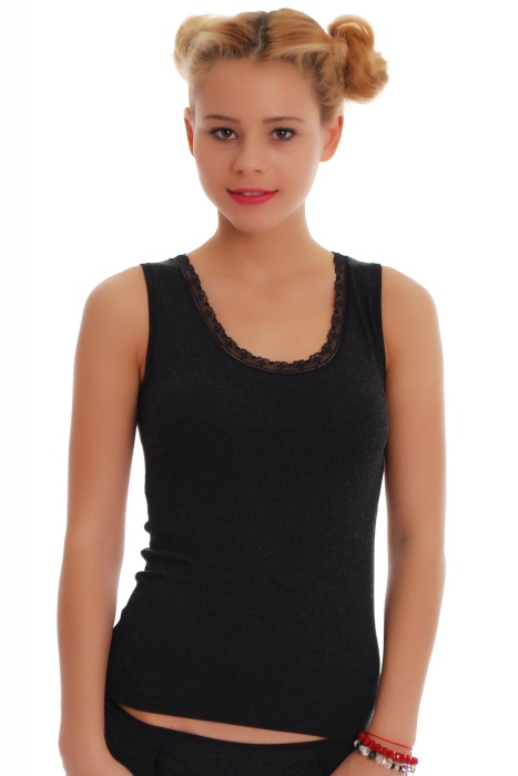 Women's Wool Vest Wide Strap with Lace 1813