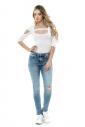 Cotton women's extravagant Bodysuit 7/8 sleeves thong 1441