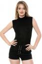 Cotton Womens Bodysuit Without Sleeve Semi-Polo Bikini Style 1335